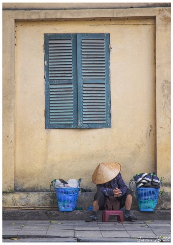 Artistic colour photo print of a street scene in Hanoi, Vietnam.