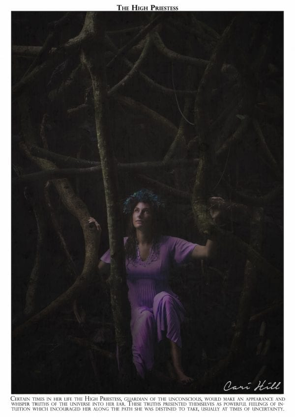 Artistic colour photo print of a tarot recreation depicting the card of The High Priestess with original text.