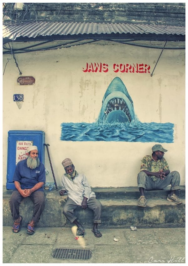 Artistic colour photo print of a street scene in Stone Town, Tanzania.