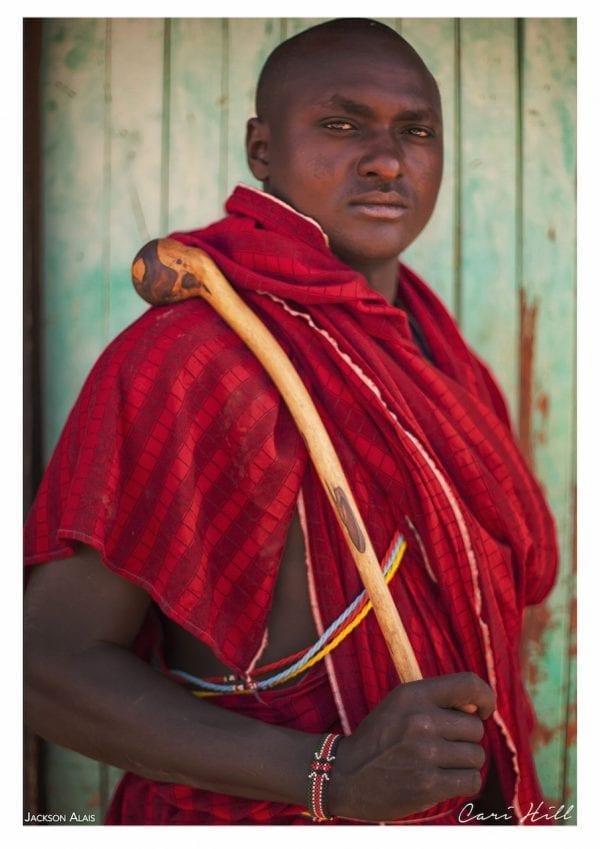 Artistic colour photo print of a portrait of a Massai man in Amboseli, Kenya near Mount Kilimanjaro.