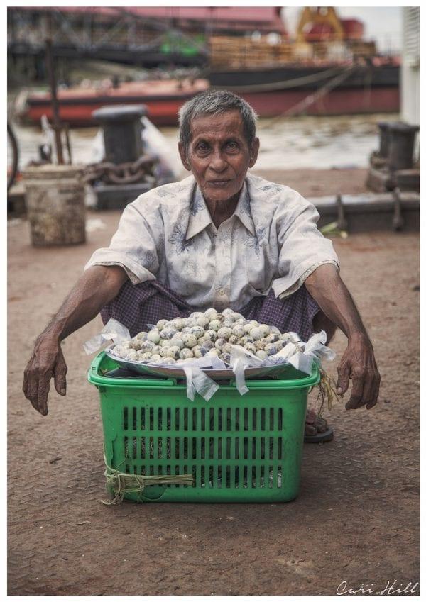 Artistic colour photo print of a quail egg seller in Yangon, Myanmar (Burma).