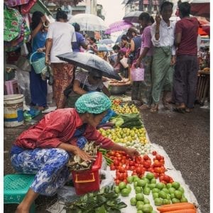 Artistic vibrant colour photo print of a rainy street market in Yangon, Myanmar (Burma).