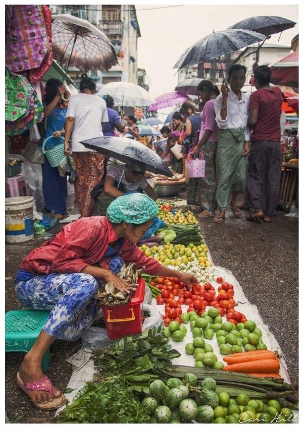 Artistic vibrant colour photo print of a rainy street market in Yangon, Myanmar (Burma).