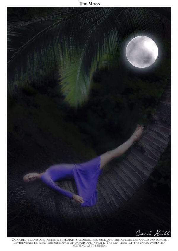 Artistic colour photo print of a tarot recreation depicting the card of The Moon with original text.