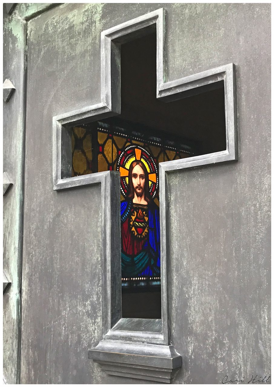 Artistic photo print of stained glass window depicting Jesus taken in Recoleta cemetary in Buenos Aires, Argentina.
