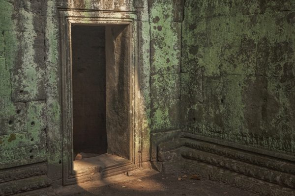Artistic colour photo print of a green moss passageway in Angkor Wat, Siem Riep, Cambodia.