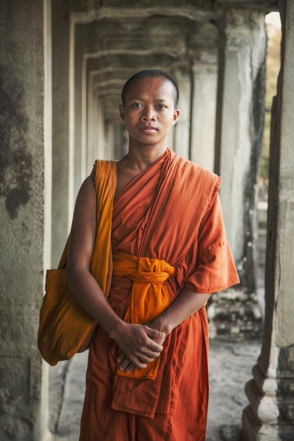 Artistic colour photo print of a monk in Angkor Wat, Siem Riep, Cambodia.