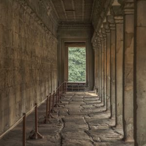 Artistic colour photo print of a passageway in Angkor Wat, Siem Riep, Cambodia.
