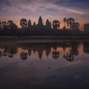 Artistic colour photo print of Angkor Wat at dawn, Siem Riep, Cambodia.
