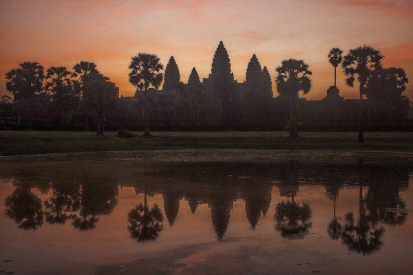 Artistic colour photo print of Angkor Wat at dawn, Siem Riep, Cambodia.