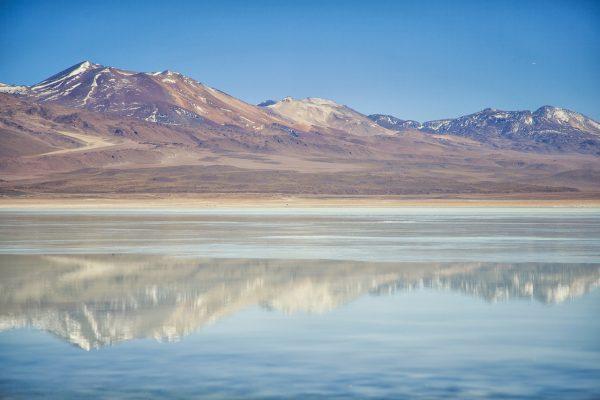 Artistic colour photo print of Laguna Verde in Uyuni, Bolivia.