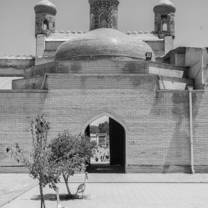 Artistic B&W photo print of a temple in Bukhara, Uzbekistan.