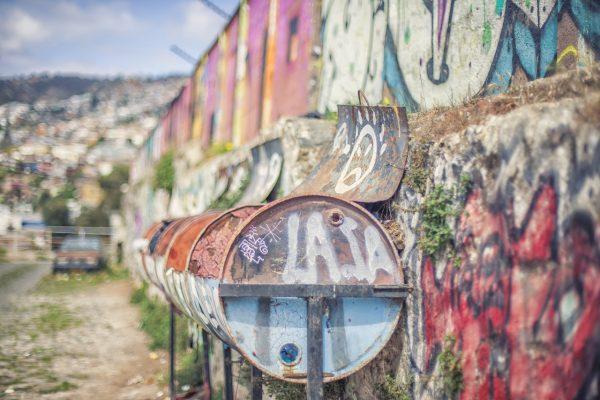 Artistic colour photo print of a street scene in Valporaiso, Chile.